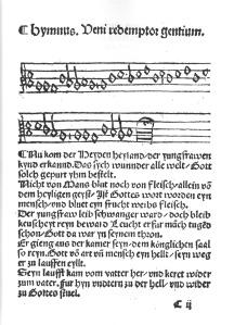 Nu kom der Heyden heyland in the Erfurt Enchiridion (1524)